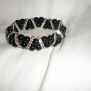 Silver & Black Rhinestone Stretch Bracelet